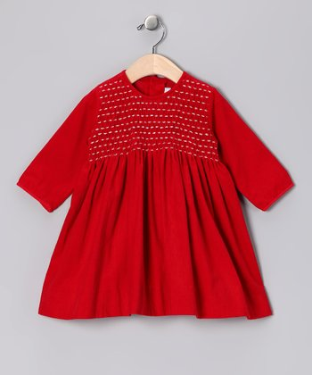 Red Smocked Corduroy Dress - Infant & Toddler