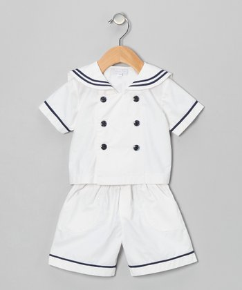 White Sailor Shirt & Shorts - Infant