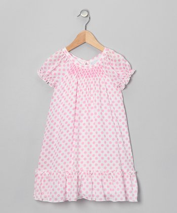 Pink Polka Dot Puff-Sleeve Dress - Infant