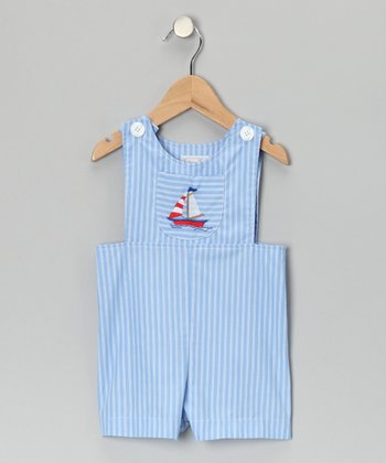 Blue Sailboat Stripe Shortalls - Infant