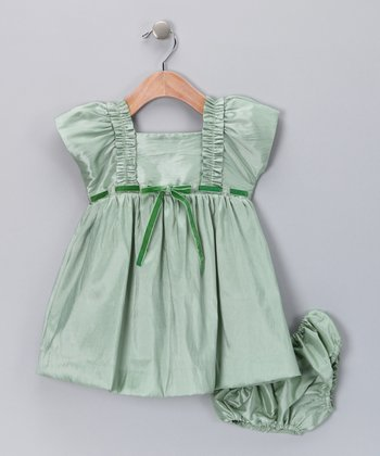 Mint Ribbon Dress & Diaper Cover - Infant