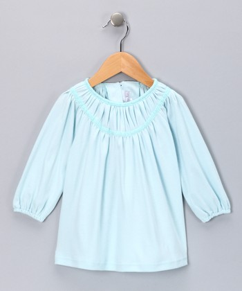 Blue Pleated Peasant Top - Girls
