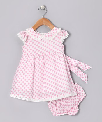 Pink Polka Dot A-Line Dress & Diaper Cover - Infant