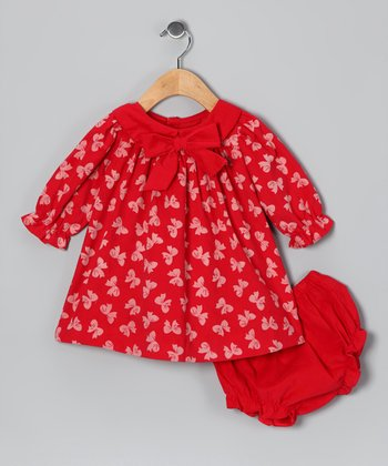Red Bow Corduroy Dress & Diaper Cover - Infant