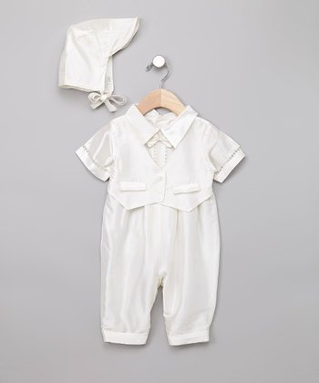 Ivory Silk Tuxedo Playsuit & Bonnet - Infant