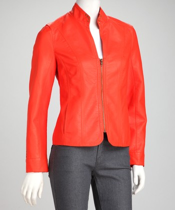 Orange Faux Leather Jacket