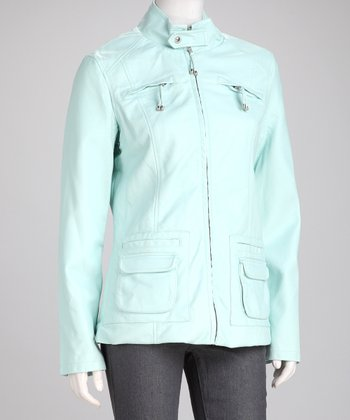 Aqua Faux Leather Zipper Pocket Jacket