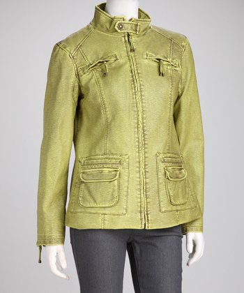 Funky Green Faux Leather Zipper Pocket Jacket