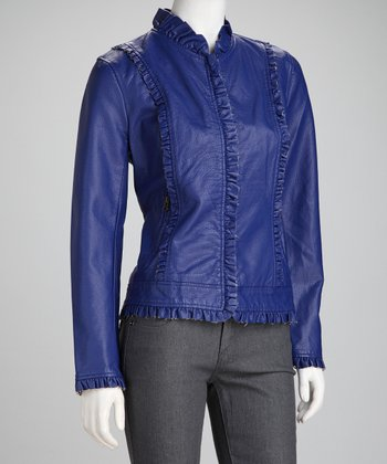Royal Faux Leather Ruffle Jacket