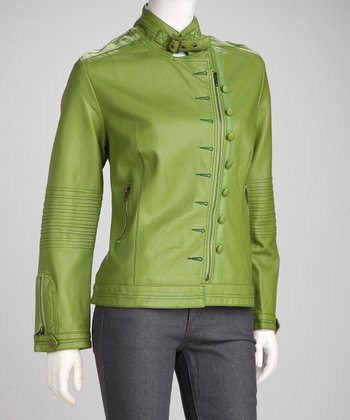 Green Faux Leather Button Jacket