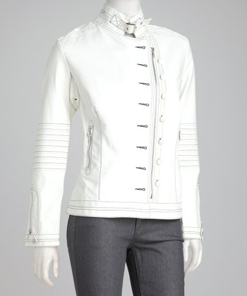 White Faux Leather Button Jacket