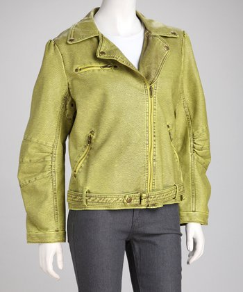 Funky Green Faux Leather Belted Jacket