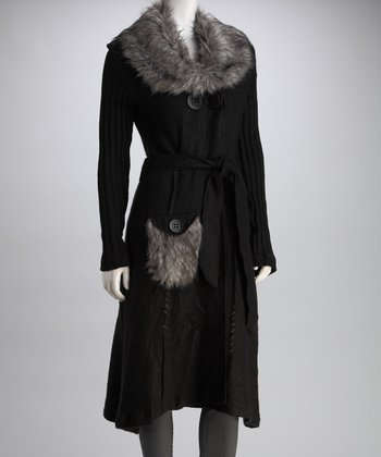 Black Faux Fur Collar Wool-Blend Long Sweater Coat