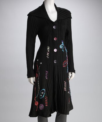 Black Embroidered Long Wool-Blend Sweater Coat