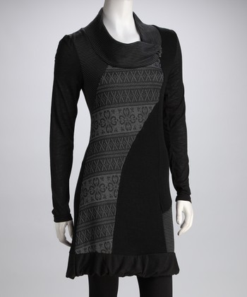 Black & Gray Patchwork Dress