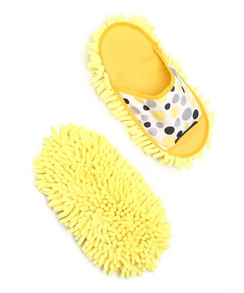 Yellow Polka Dot Chenille Dusting Slipper - Set of Two