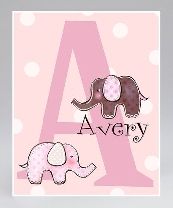 Pink Elephant Personalized Print