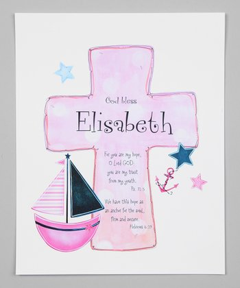 Pink & Blue Sailboat Cross Personalized Print