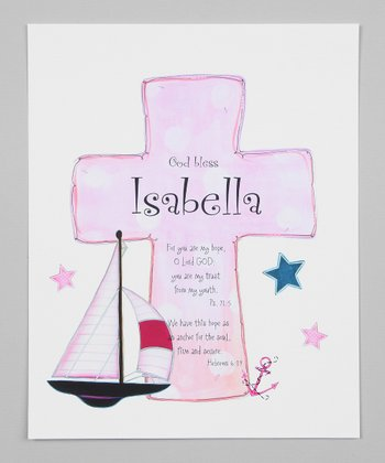 Pink & Navy Sailboat Cross Personalized Print