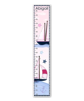 Pink & Blue Sailboat Personalized Growth Chart