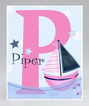 Pink Sailboat Personalized Print