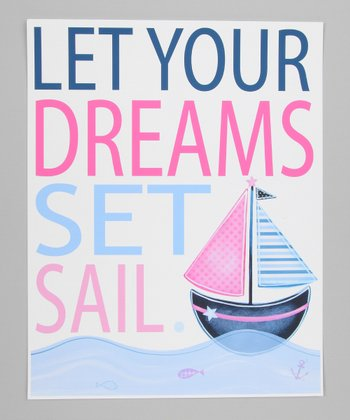 Pink & Blue Sailboat Print