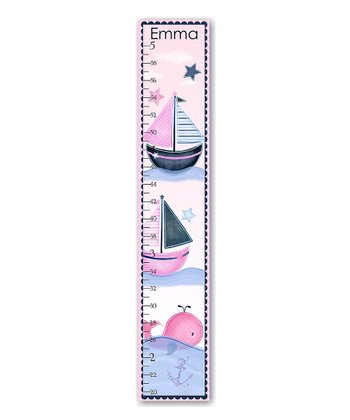 Pink Whales & Boat Personalized Growth Chart