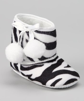 Fashion Belles Zebra Pom-Pom Booties