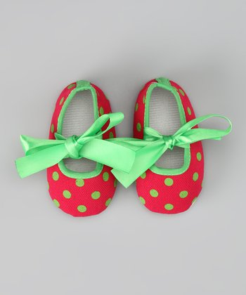 Fashion Belles Red & Green Satin Polka Dot Booties