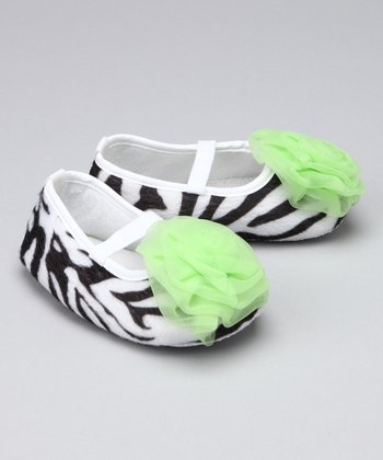 Zebra & Lime Puff Booties