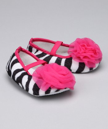 Fashion Belles Zebra & Hot Pink Puff Booties