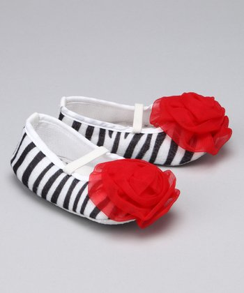 Zebra & Red Puff Booties