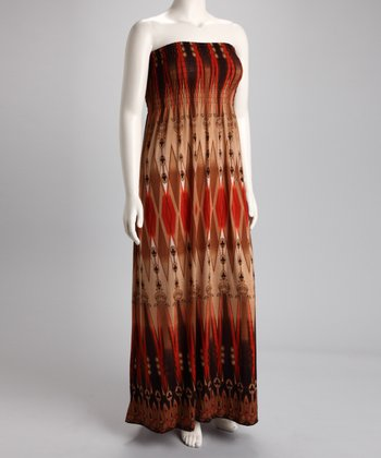 Brown Diamond Strapless Maxi Dress