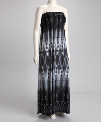 Gray Diamond Strapless Maxi Dress