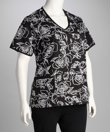 Black & White Vintage Rose V-Neck Scrub Top - Plus