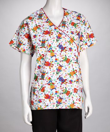 White Clown Scrub Top - Women & Plus