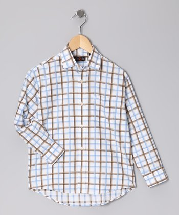 Blue & Brown Plaid Button-Up - Boys
