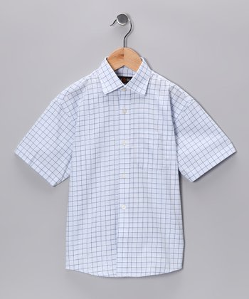 Light Blue & White Button-Up - Boys
