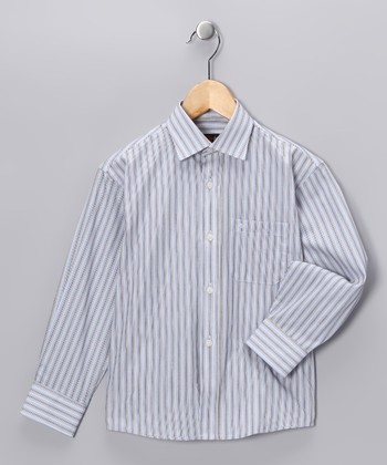 Gray & White Stripe Button-Up - Toddler & Boys