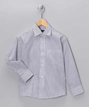Navy Pinstripe Button-Up - Toddler & Boys