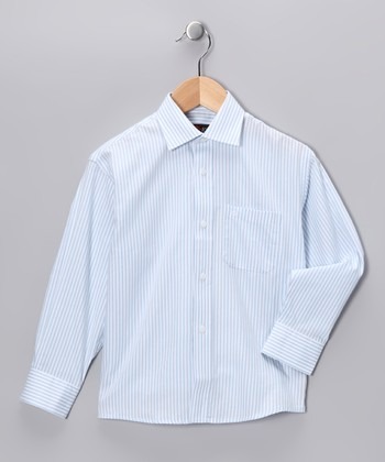 White & Light Blue Stripe Button-Up - Toddler & Boys