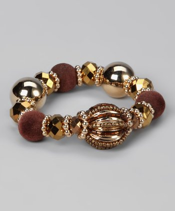 Gold & Brown Roman Bobble Stretch Bracelet