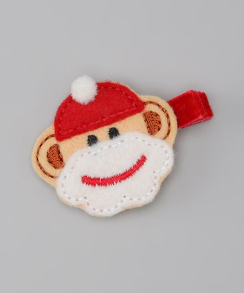 Red & White Santa Sock Monkey Clip