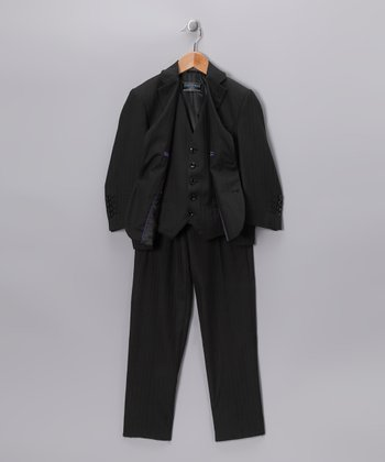Black Pinstripe Three-Piece Suit Set - Boys