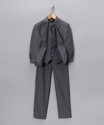 Light Gray Three-Piece Suit Set - Boys