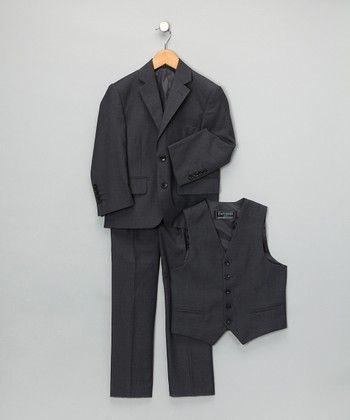 Charcoal Three-Piece Suit Set - Boys