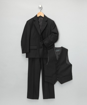 Black Three-Piece Suit Set
