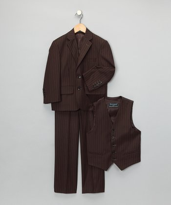 Brown Pinstripe Three-Piece Suit Set - Boys