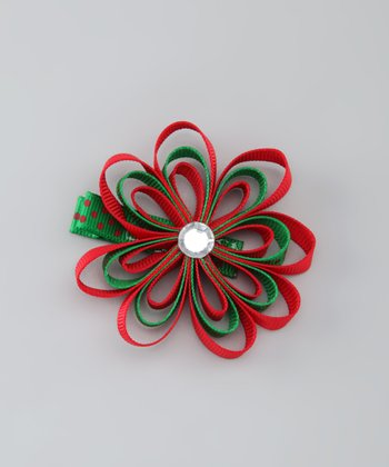 Green & Red Loopy Flower Clip