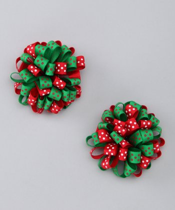 Red & Green Puff Clip Set